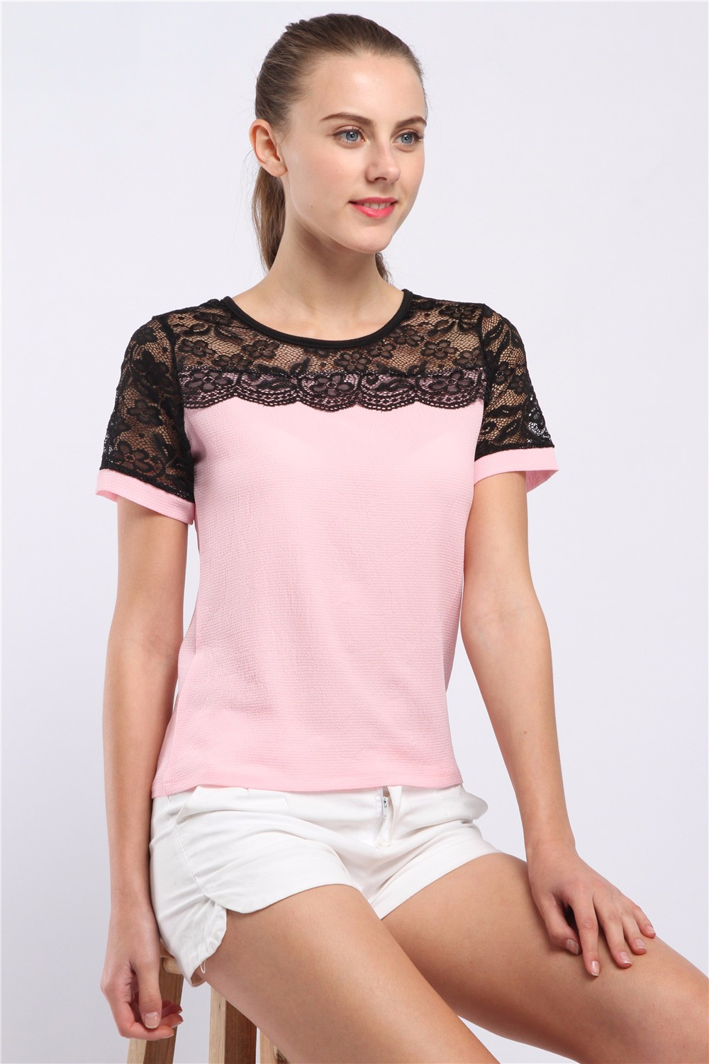 Women Blouses Summer Lace Chiffon Blouse Casual Blusa Feminina Tops Fashion Chemise Femme Shirts Plus Size 5XL Red White Pink 14