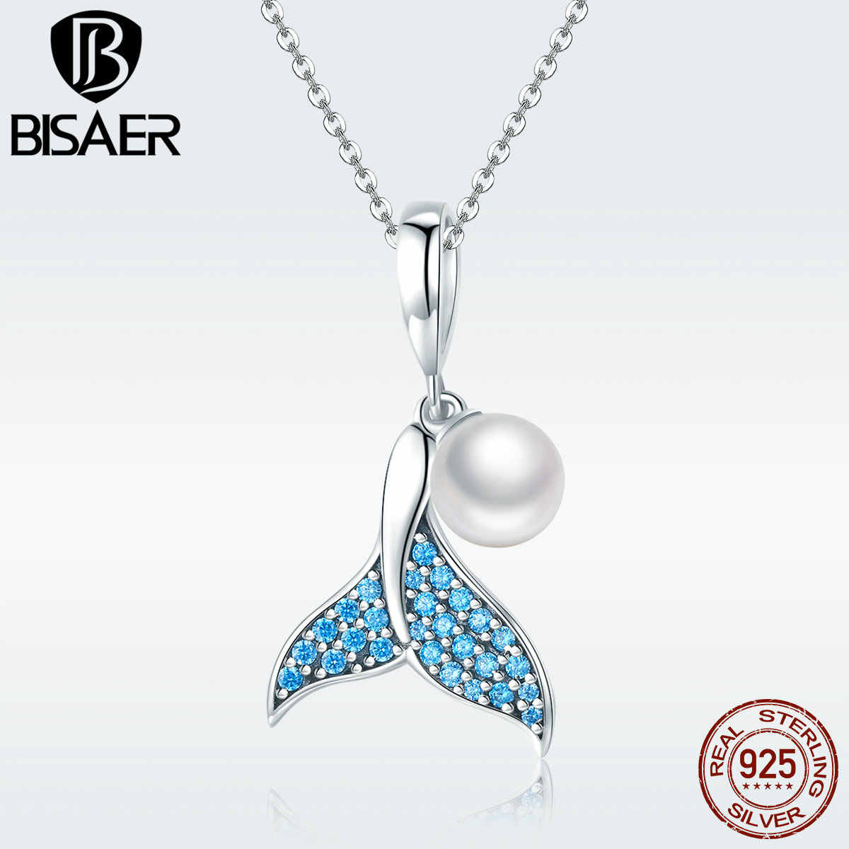 BISAER Pendant Charms 925 Sterling Silver Blue Fish Tail Pearl Mermaid Beads for s925diy Charm Bracelet or Necklace GXC877