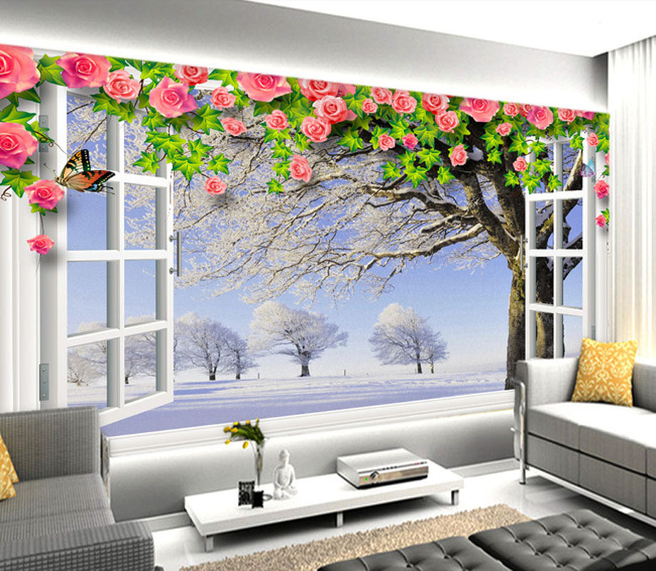 Fashion various wallpaper white window vine flowers for Mural 3d simple