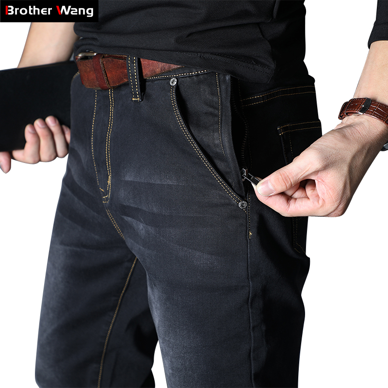 2020 Autumn Winter New Men's Brand Jeans Loose Straight Elastic Anti-theft Zipper Denim Pants Male Big Size 40 42 44 46 48