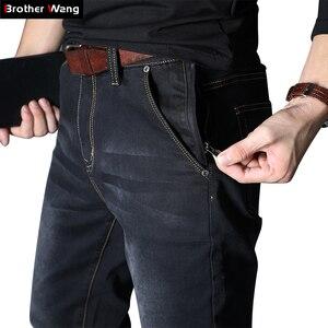 Image 1 - 2020 جديد الرجال جينز علامة تجارية فضفاض مستقيم مطاطا مكافحة سرقة سستة الدنيم السراويل الذكور حجم كبير 40 42 44 46 48