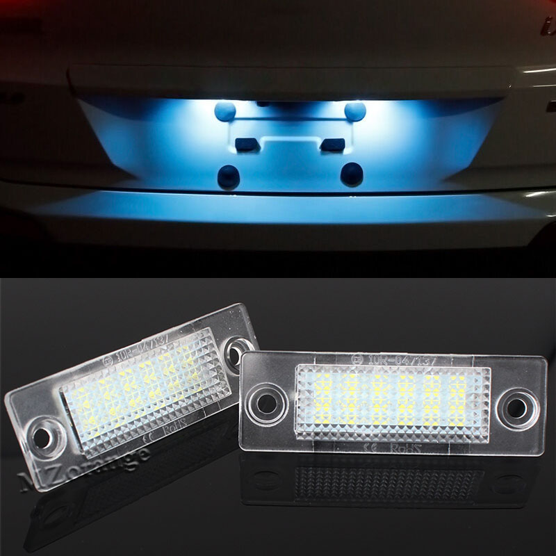 No Error Car LED License Plate Light Number Plate Lamp Bulb For VW Touran Passat B6 B5.5 T5 Jetta Caddy Golf Plus Skoda Superb new led license number plate lights for vw t5 passat 3c b6 caddy touran jetta golf plus no error