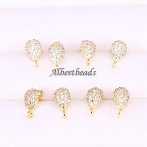 Image 3 - 20 Pairs ZYZ300 4964 Earrings Post with Loop Hanger Paved Rhinestone CZ DIY Stud Earrings Jewelry Findings