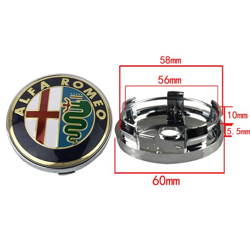 Black 4pcs Car Emblem Wheel Center Hub Cap Wheel Badge Covers for Alfa Romeo Mito 147 156 159 166 157 Giulietta Spider Stelvio GT 4C