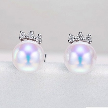 Women Gift word 925 Sterling silver real The new star shipping pony 7-7.5mm light round natural freshwater pearl earrings, s