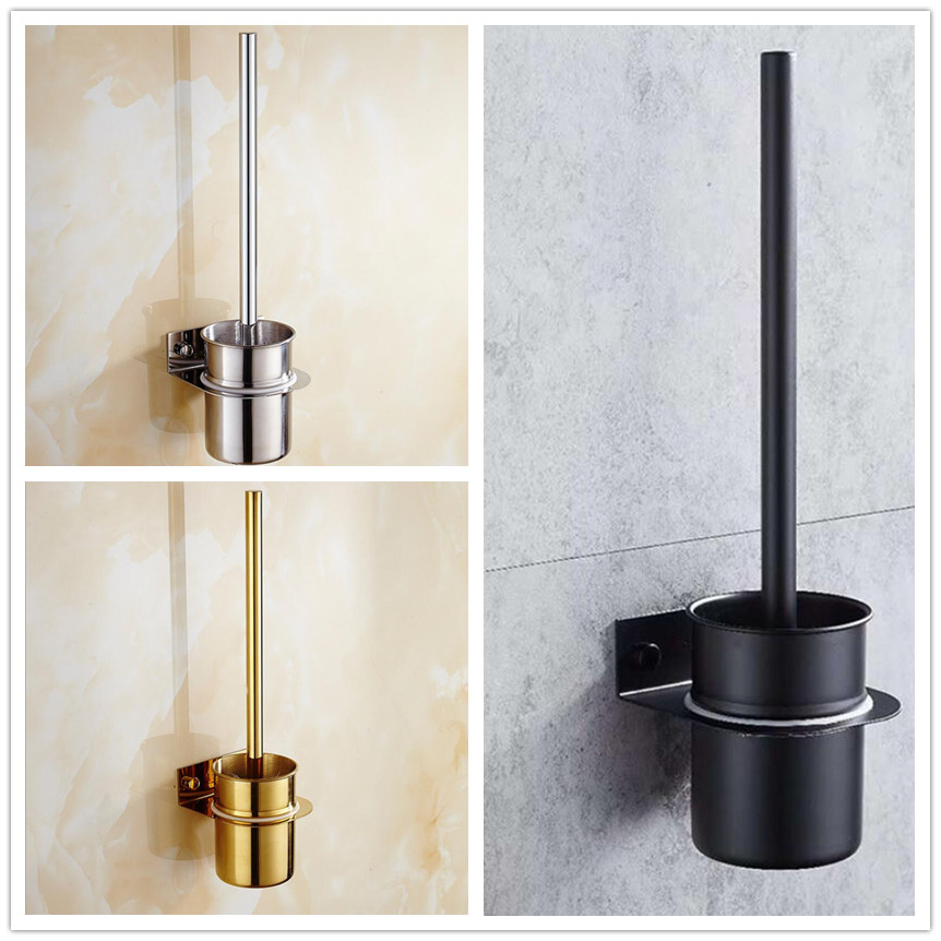 Free Shipping Luxury Gold Plated 304 Stainless Steel Bathroom Toilet Brush Holder Wall Hanging 3 Colors