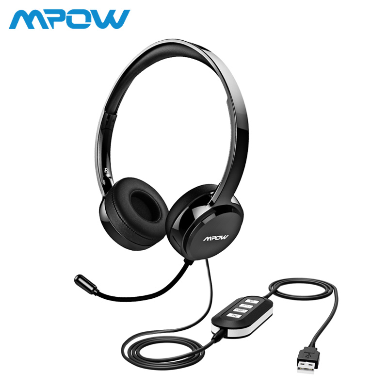 Mpow PA071 AUX Wired Headset With Noise Reduction In-line Control Protein Memory Earmuff With Mic for Skype Computer Call Center 1 2 pack mpow pro professional wireless bluetooth headphone with microphone 13h talking time for driver call center skype office