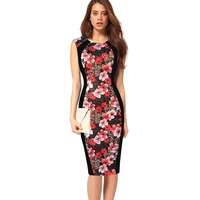 Womens Sexy Elegant Vintage Retro Floral Flower Print One Piece Dress Suit Pinup Casual Party Club