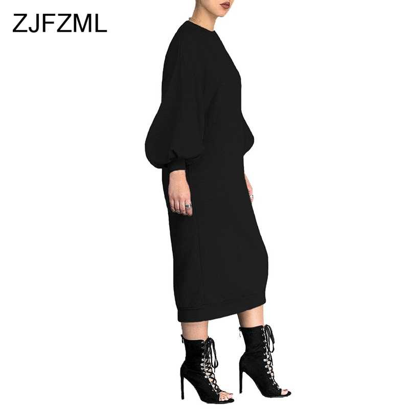 2af56f475fbc ... Puff Sleeve Casual Hoodie Dress 2018 Women Black Round Neck Long Sleeve  Sweatshirt Dress Autumn Winter ...