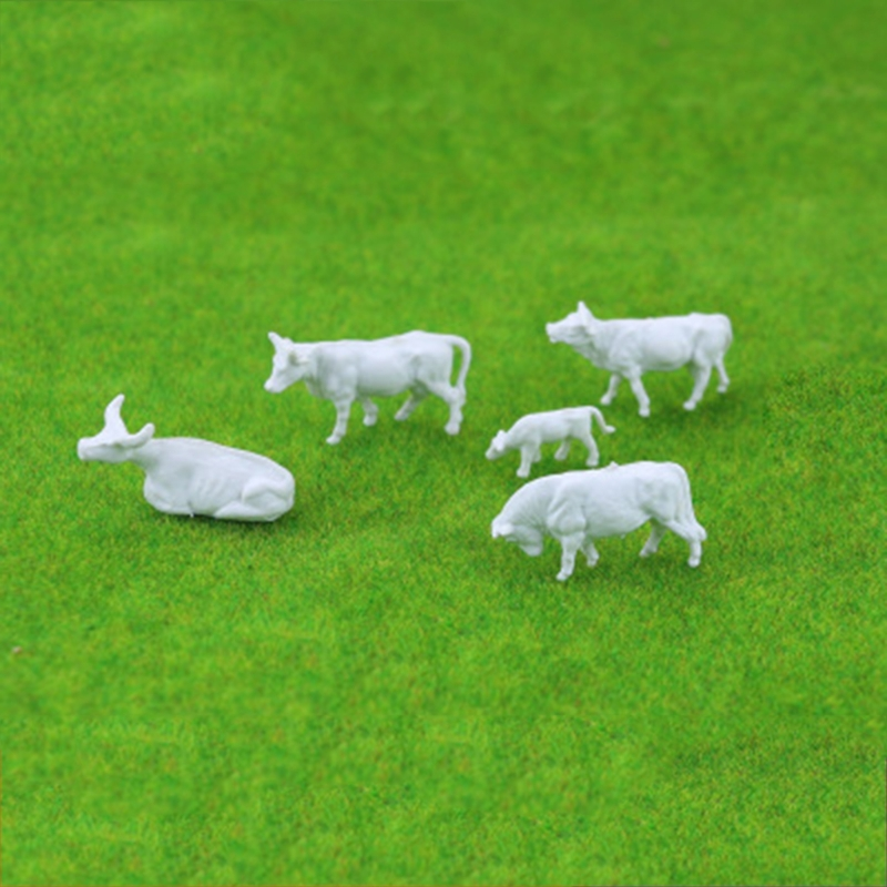 New 10pcs 1:87 Diy HO Scale White Cow Model Train Layout Model Building Toys For Park Station Platform Wholesale-M20