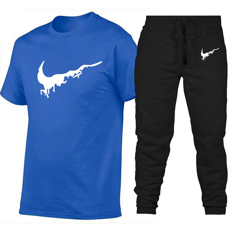 New Fashion Printing Suits Sportwear Gyms Fitness Trousers/Men's Sets T Shirts+pants Two Pieces Sets Casual Tracksuit Men3XL