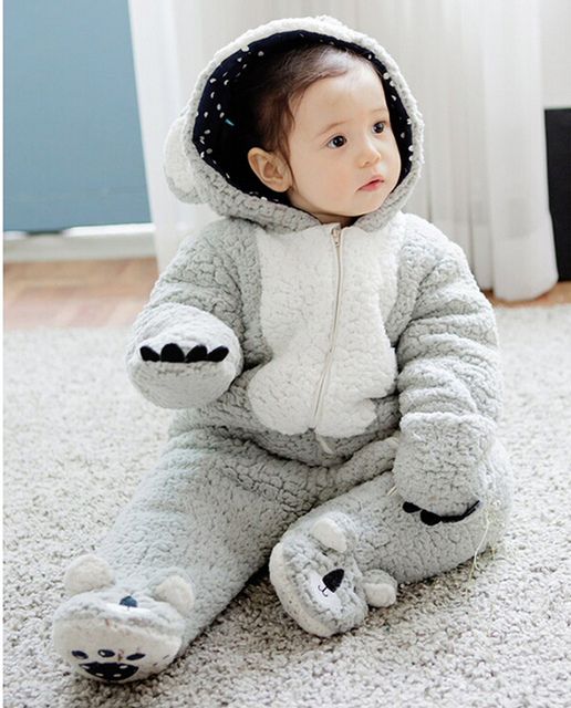 ab13fd50add5 New 2016 Longsleeve Coral Fleece Romper Cute bear Winter Warm Infant ...