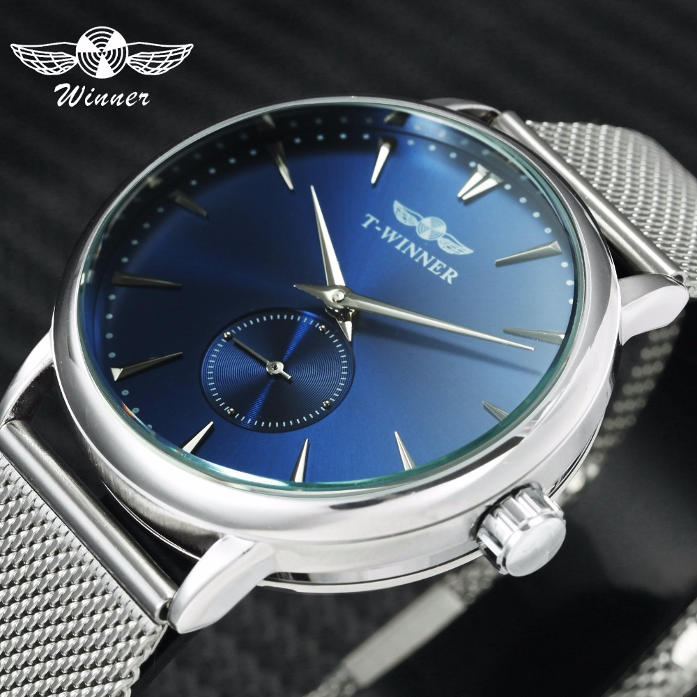 Minimalist Watches Mechanical Ultra Thin Mesh Strap Sub-Dial   Blue Couple Wristwatches