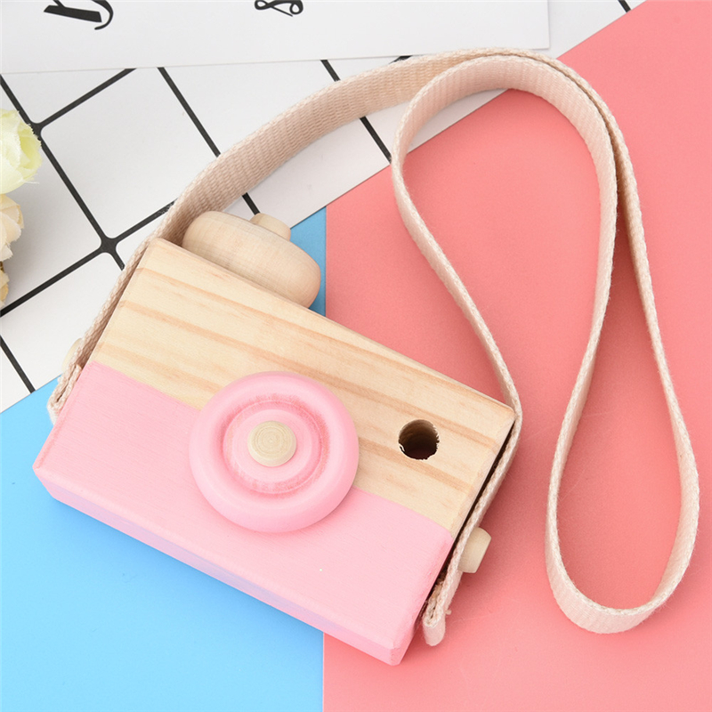 New Arrival Pink Wooden Toy Camera Kids Creative Neck Hanging Rope Toy Photography Prop Gift Super Eye Catching Camera Drop Ship