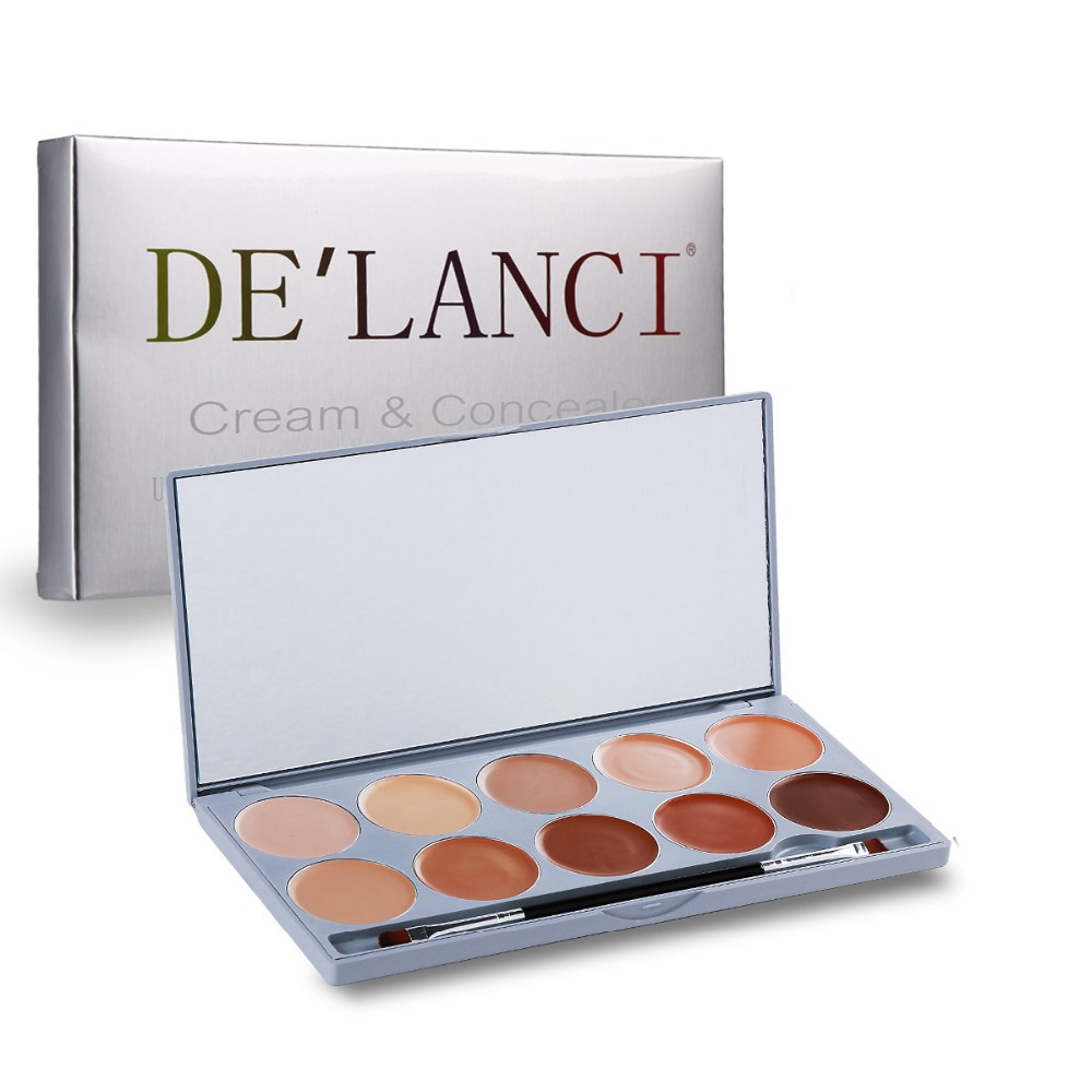DE'LANCI 10 Color Contouring Makeup Kit Cream Based Professional Concealer Palette Face Make up Set Pro Palette High-end Formula 1