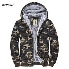 4XL New Aautumn and Winter Men Camouflage Jackets Plus velvet Warmth Harajuku Hoodies Cardigan Zipper Parka Men