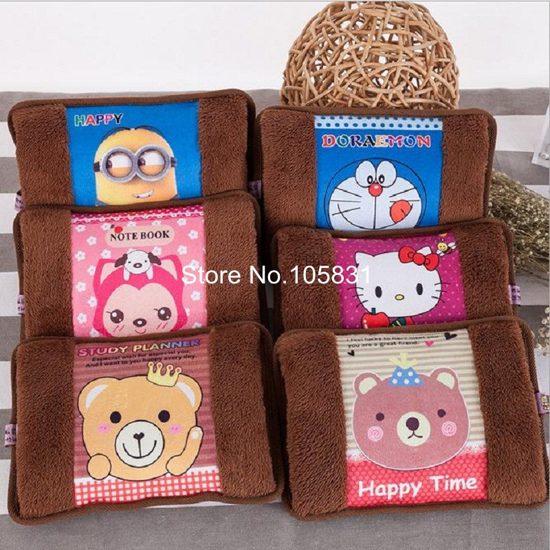 Explosion Proof Rechargeable Electric Hot Water Bottle Cute Cartoon Hand Warmer Heater Bag with Soft Velvet Detachable Cover