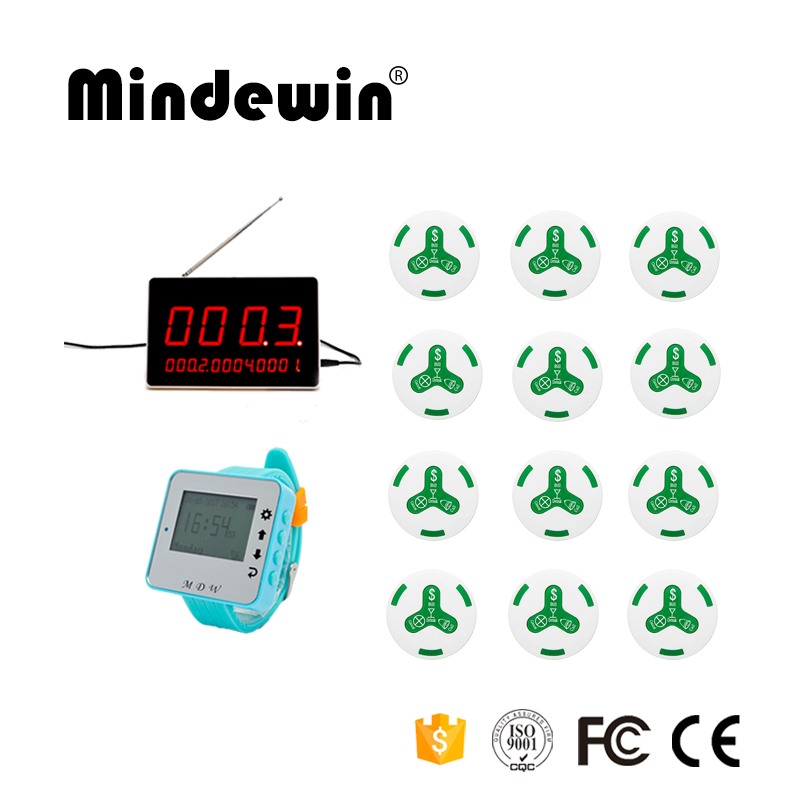 Mindewin Wireless Hotel Bank Service System Paging System Pager Restaurant 1 Service Watch +1 Display +12 Waiter Calling Button wireless service calling system paging system for hospital welfare center 1 table button and 1 pc of wrist watch receiver