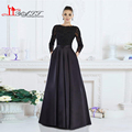 Black Formal Evening Dresses 2016 A-line Jewel Neck Long Sleeves Beaded Lace Top Floor Lenghth Satin Long Evening Gown