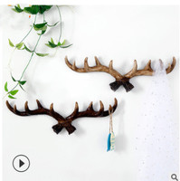 American rural deer horn wall hanger retro creative wall decoration living room porch clothing store wall hanging