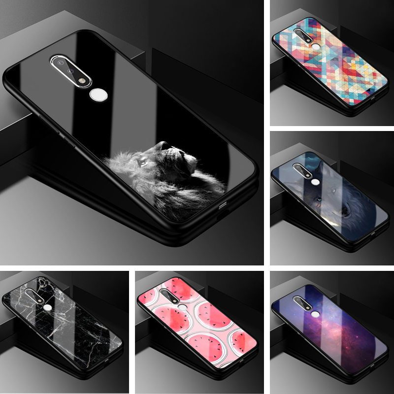 For <font><b>Nokia</b></font> <font><b>5.1</b></font> Plus <font><b>Case</b></font> X5 PC Plastic Tempered Glass <font><b>Phone</b></font> <font><b>Case</b></font> Black TPU Bumper Cover for <font><b>Nokia</b></font> <font><b>5.1</b></font> Plus Cover For <font><b>Nokia</b></font> X5 X 5 image