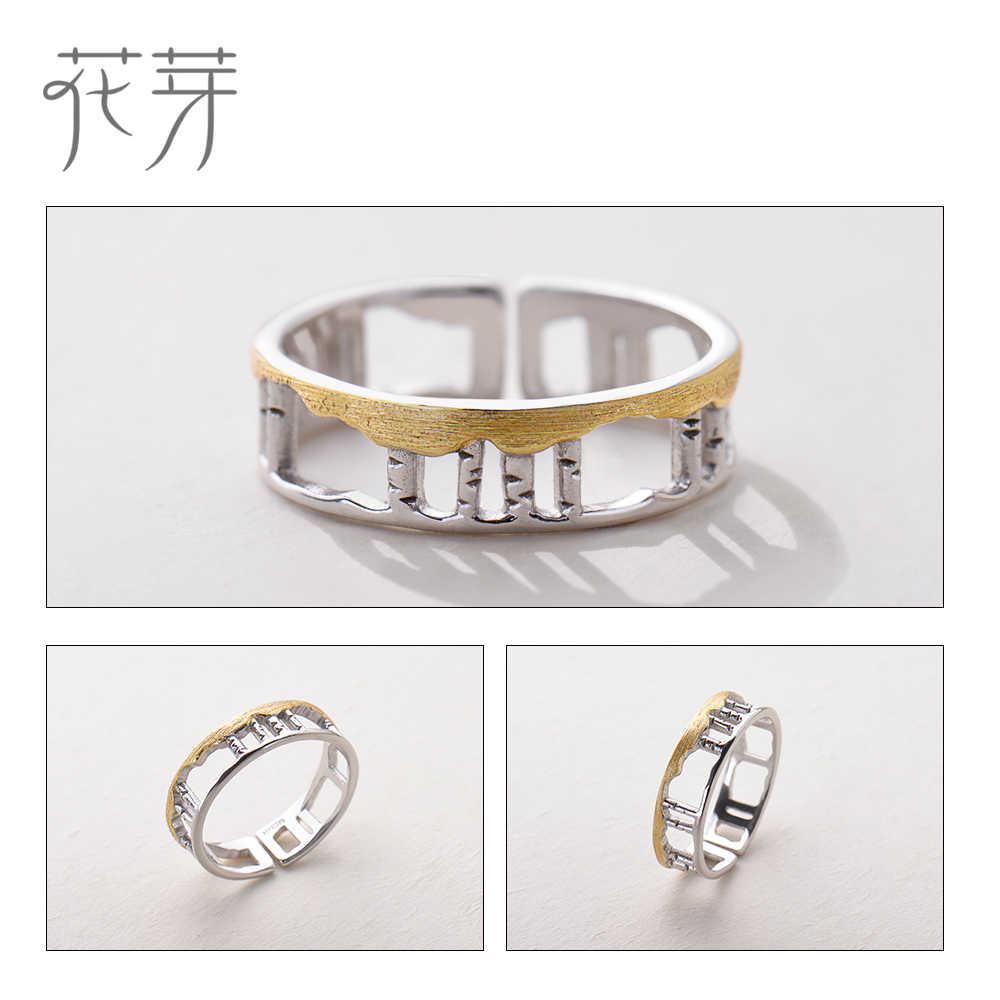 Thaya Birch Forest Design แหวน s925 Silver Hollow Golden ใบแหวนนิ้วมือสำหรับสุภาพสตรี Love Story เครื่องประดับของขวัญ