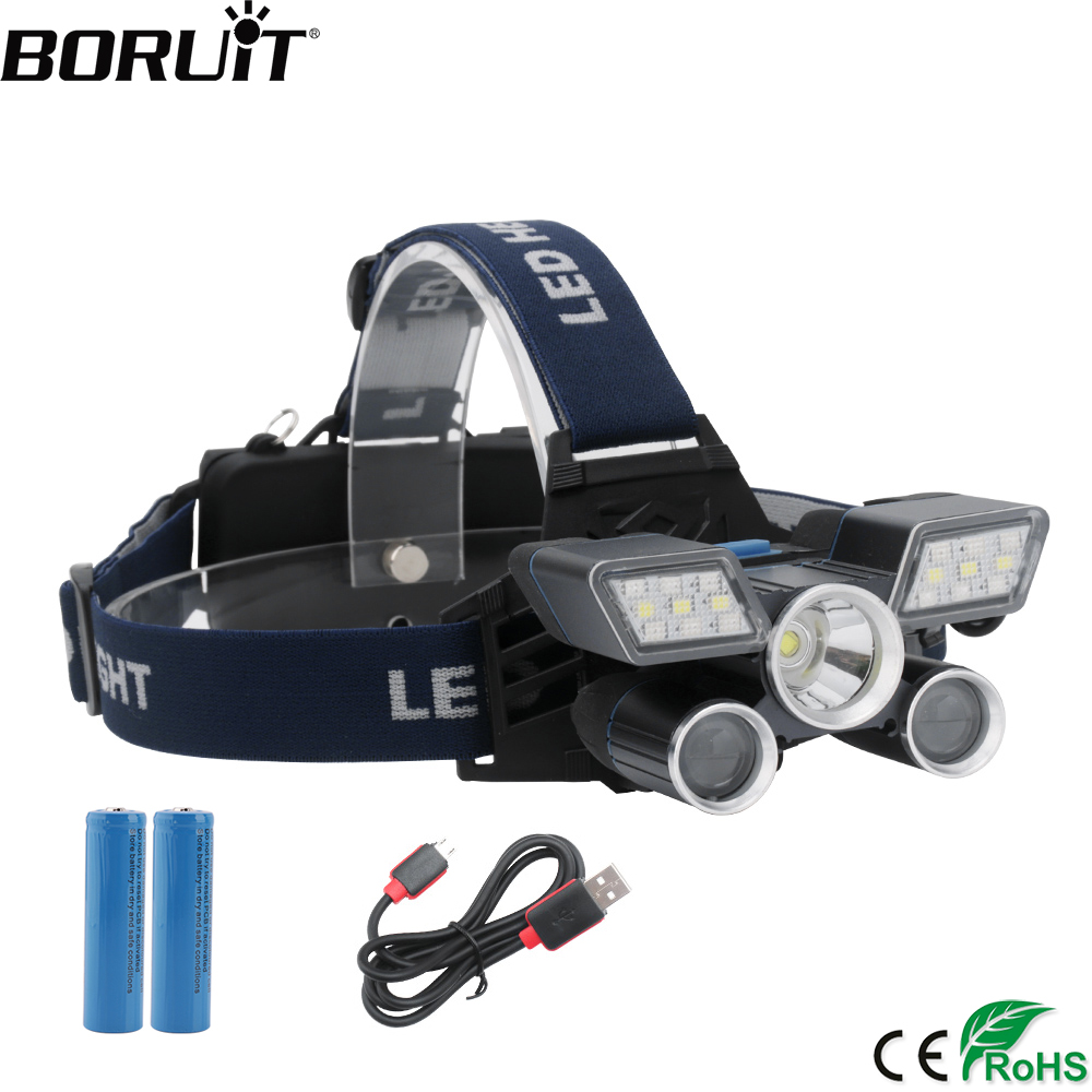 BORUiT 10000LM XM-L2 + XPE LED 10W Farol 9-Modo USB Carregador Use 18650 Bateria Cabeça Da Tocha Do Farol camping Caça Lanterna