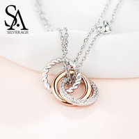SA SILVERAGE 925 Sterling Silver Long Necklaces Pendants for Women Rose Gold Color Fine Jewelry 925 Silver Maxi Chokers Necklace