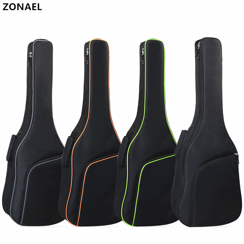 ZONAEL38 39 40 41Inch Acoustic Folk Guitar Waterproof Bag Case Backpack 10mm Thick Cotton With Double Padded Straps Guitar Part 40 41inch acoustic classical guitar bag case backpack adjustable shoulder strap portable 4mm thicken padded black
