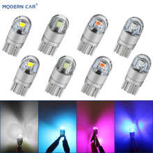 цена на MODERN CAR 2pcs COB T10 W5W LED Lamp Bulbs T10 Wedge 3030 2SMD Car Styling Light Bulbs 12V Clearance Light Turnning Signal Lamp