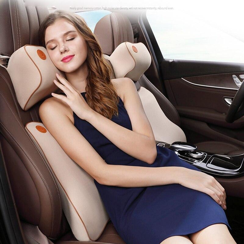 Oreiller de cou de voiture + coussin de soutien lombaire ensemble de Protection de taille voiture voyage sommeil confortable accessoires de voiture en mousse à mémoire de forme