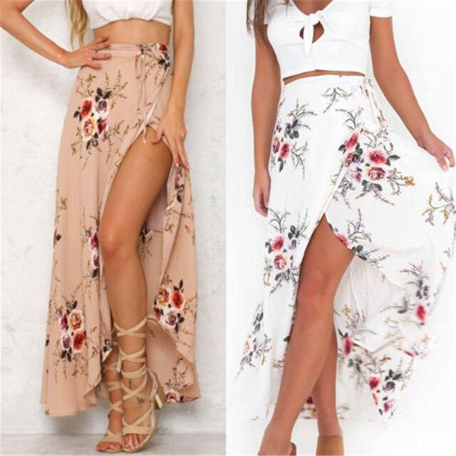 a71938e6cd Vintage Floral Print Long Skirts Women Summer Elegant Beach Maxi Skirt Boho  High Waist Asymmetrical Skirts