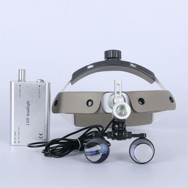 High Quality 2.5X surgery operation surgical Helmet Magnifier Dental Loupe optic glass with LED light
