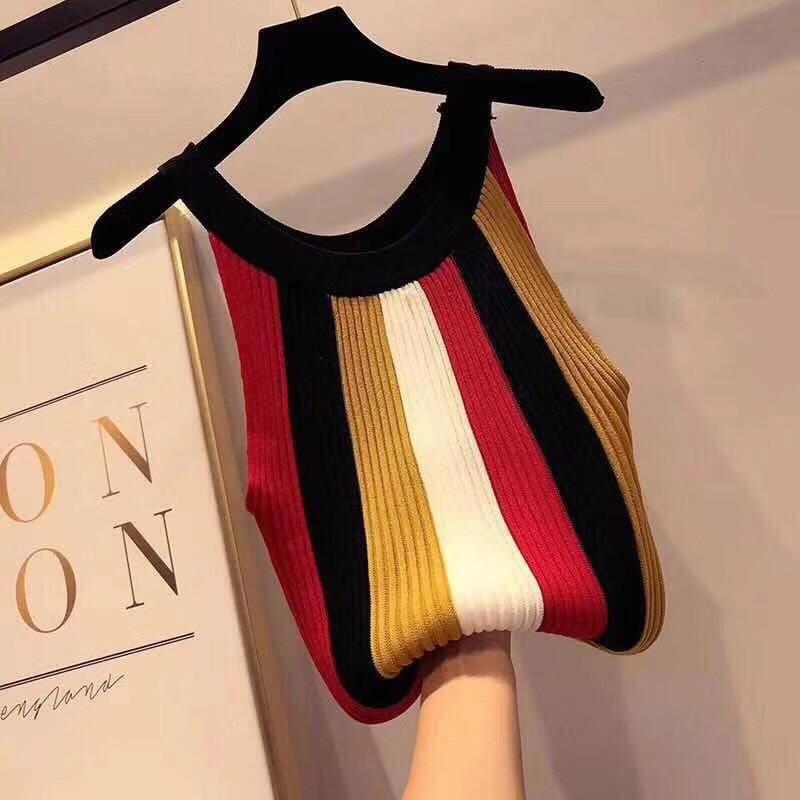Vogue Crop   Tops   Women Clothes 2019 Summer Sexy Off Shoulder Rainbow Stripes   Tank     Top   Halter Knitted Womens Sleeveless Haut Femme