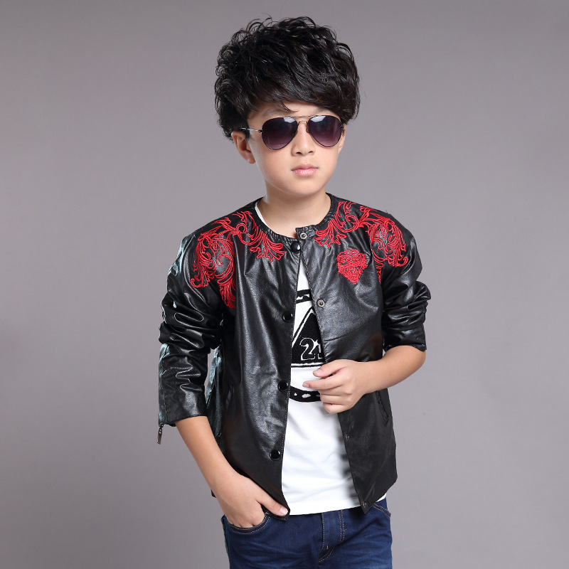 Imitation PU Leather Jacket Boys Kids Embroidered Floral Jackets For Boys Black Spring Autumn Korean Fashion Children's Coats