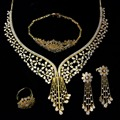 Luxury Flower Jewelry Set for Women Gold Plated Cubic Zirconia Tassel Bridal Wedding Jewelry 4pcs Set