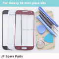 Black White Blue Front Outer Glass Lens Cover replacements For Samsung Galaxy S4 Mini Touch Panel Kits + Tools + Adhesive