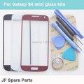 Preto Branco Azul Frente Outer Lente de Vidro Capa substitutos Para samsung galaxy s4 mini touch kits de painel + ferramentas + adesivo