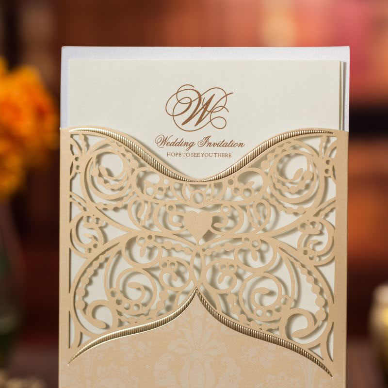 1pcs Sample Gold Laser Cut Wedding Invitations Card Lace Flower Greeting Card Customize Envelopes Wedding Party Favor Decoration