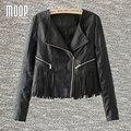 Американский стиль черный PU кожаные куртки пальто бахромой женщины кисточкой декор кожа мотоциклетная куртка весте ан cuir femme LT754