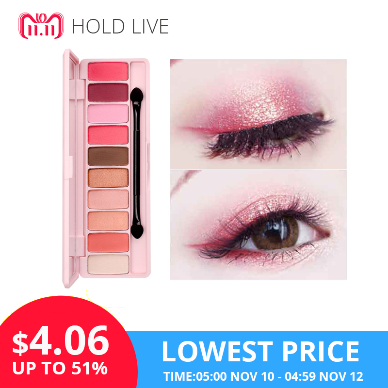 HOLD LIVE Peach Matte Eyeshadow Palette For Red Shadows Korean Makeup Brand Pink Cherry Blossom Glitter Eyes Shadows Palette Kit недорого