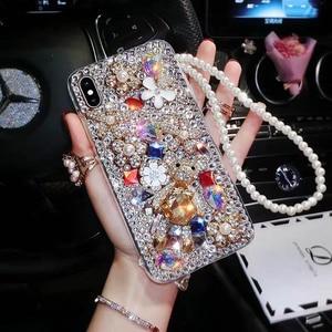 Image 2 - Fashion P20 Pro Diamond Soft TPU Crystal Rhinestone Glitter Phone Case For Huawei P30 Pro P30 P20 Lite Cover with Jewelry Strap