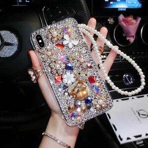 Image 2 - Mode P20 Pro Diamant Weiche TPU Kristall Strass Glitter Telefon Fall Für Huawei P30 Pro P30 P20 Lite Abdeckung mit schmuck Strap