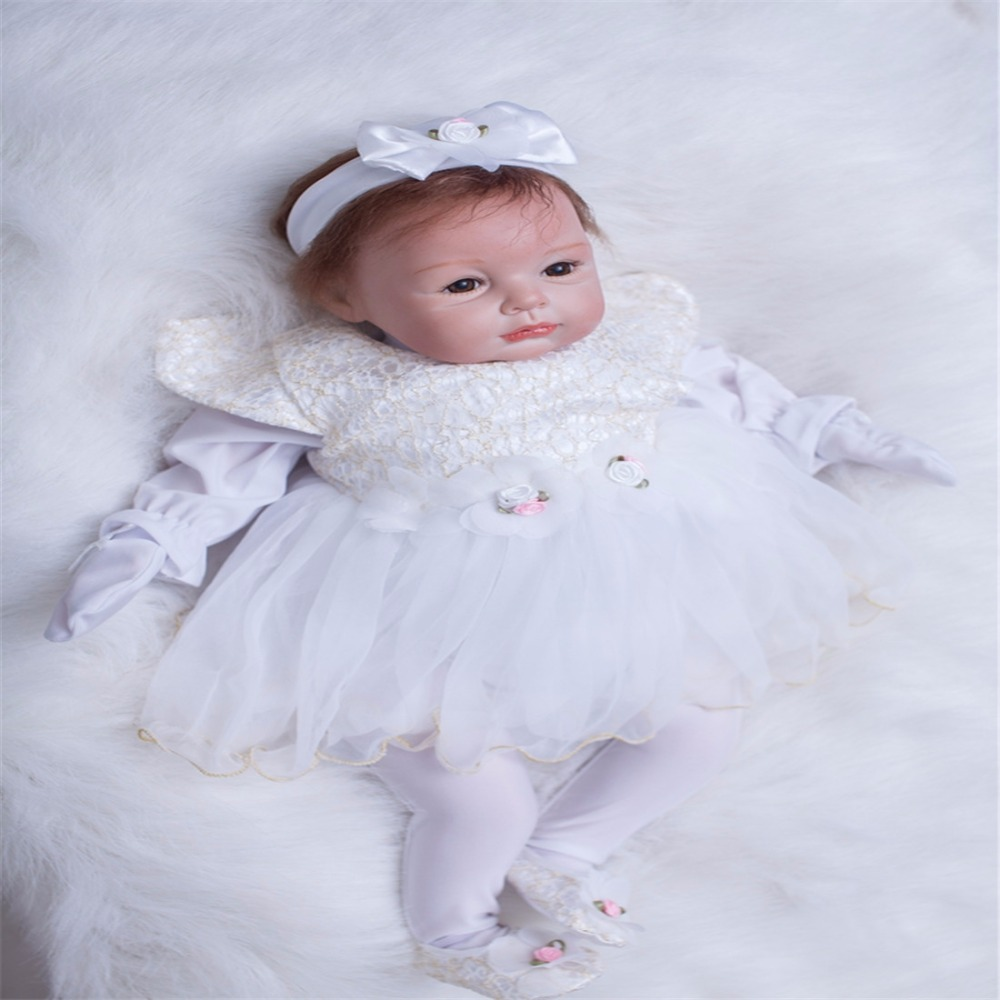22 inch 55 cm Silicone baby reborn dolls lifelike doll reborn Fashionable white dress beautiful doll