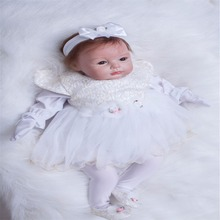 22 inch 55 cm Silicone baby reborn dolls, lifelike doll reborn Fashionable white dress beautiful doll holiday gift