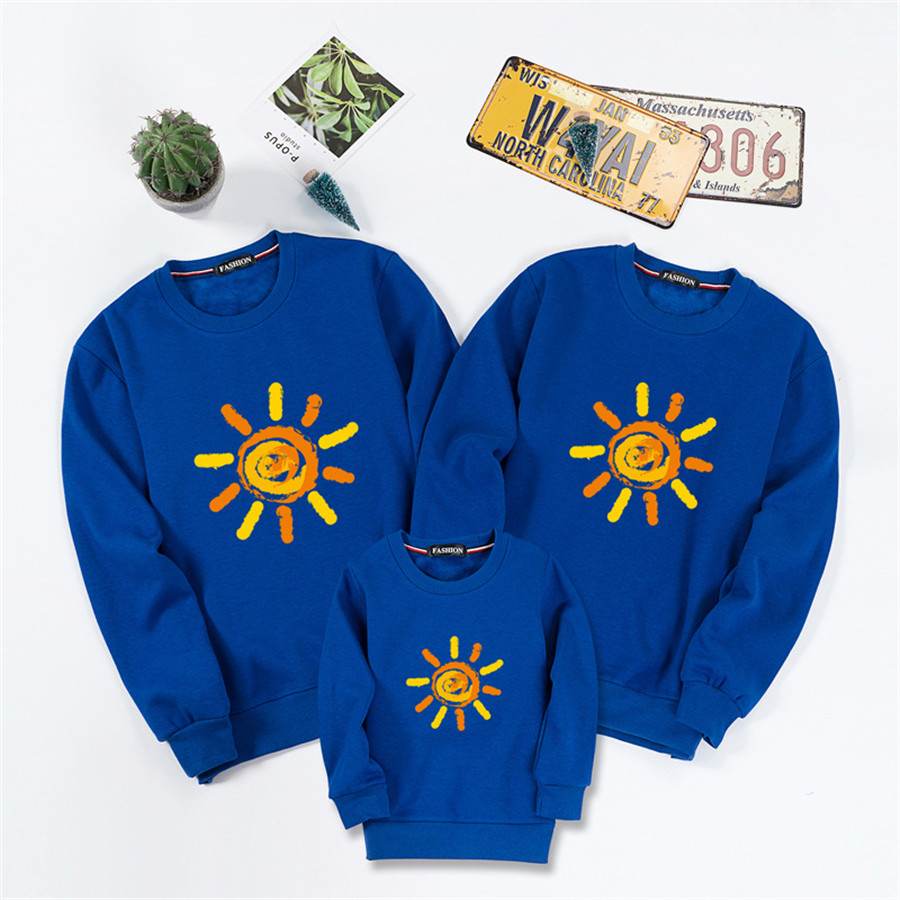 Family Matching Clothes Outfits Autumn Mother Kids Hoodies sun Pattern Mom Daughter Son Tops Sweaters Family Clothing