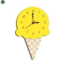 Wall Clocks Home Decor Modern Cartoon Creative Watch Ice cream Childrens Clock  Acrylic Garden