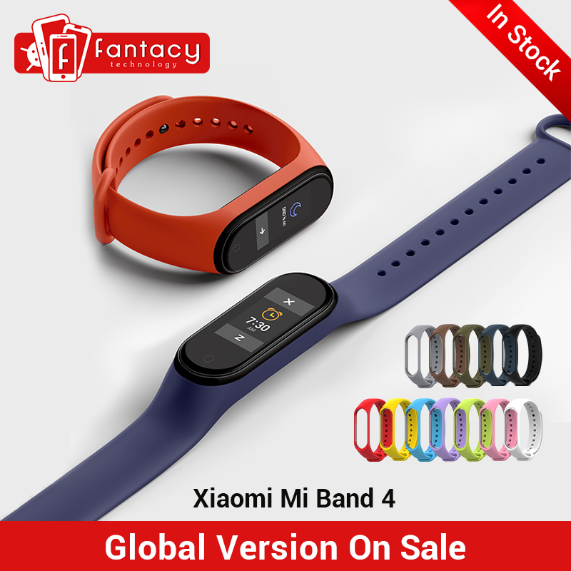 "In Stock New Xiaomi Mi Band 4 Smart Miband 4 0.95"" AMOLED Screen Waterproof Heart Rate Fitness 135mAh 20 Bluetooth 5.0 50ATM(China)"