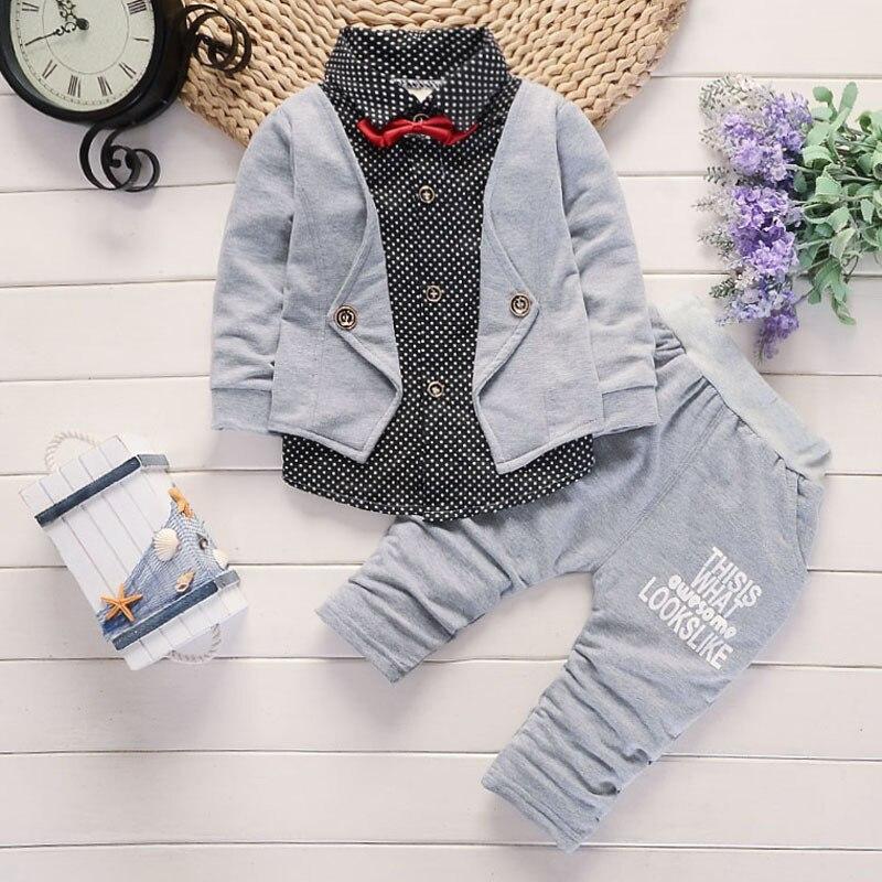 2 шт. Осенняя одежда для мальчика комплект Формальные модная детская одежда спортивный костюм Одежда для малышей; Одежда для маленьких маль... ...