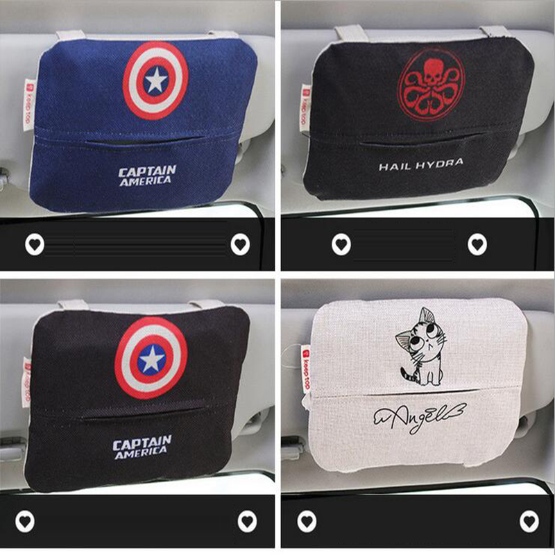 24.5 18 cm Marvel Cotton Tissue Box Paper Storage Sun Visor Type Seat Type  Good Quality Car Car styling Accessories-in Tissue Boxes from Automobiles  ... 30f910f634b